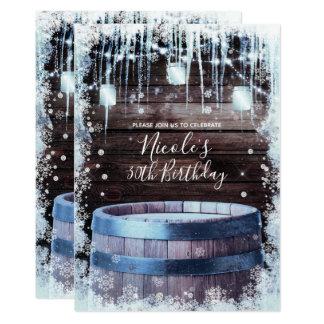 Rustic Wood Barrel & Lights Winter Birthday Party Card