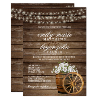 Rustic Wood Barrel Wedding with White Floral Card