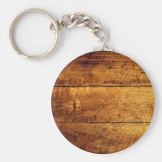 Rustic Wood Basic Round Button Keychain