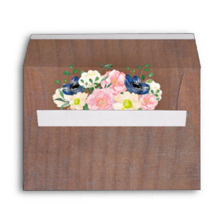 Rustic Wood Basket of Flowers Wedding Invitation Envelope