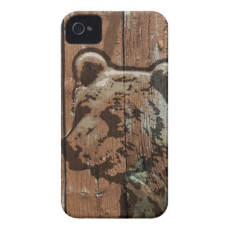 Rustic wood bear Case-Mate iPhone 4 case