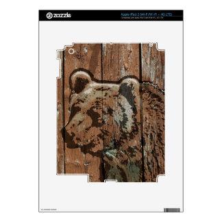 Rustic wood bear decal for iPad 3