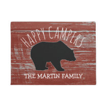 Rustic Wood Bear Family Name | Happy Campers Doormat