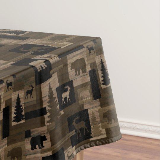 Rustic Wood Bear Moose Pattern Cotton Tablecloth Zazzle Com