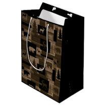 Rustic wood bear moose pattern gift bag