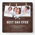 Rustic Wood Best Dad Ever 3 Photo Collage Square Wall Clock