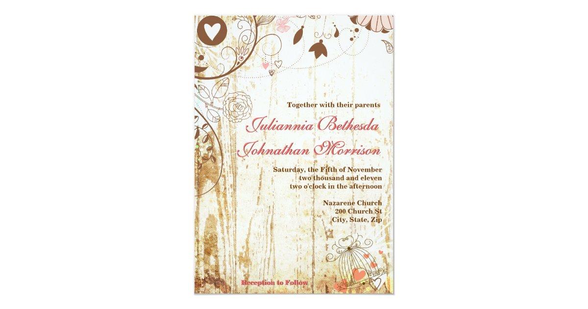 Wedding Invitations Birdcage: Rustic Wood Birdcage Wedding Invitation
