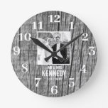 Rustic Wood Black And White Photo Wedding Round Clock