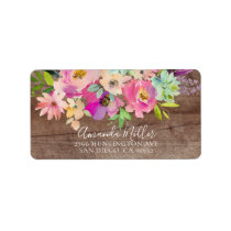 Rustic Wood Blooms Floral Return Address Label