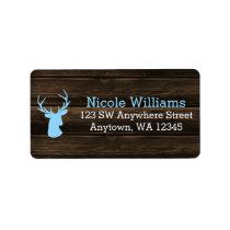 Rustic Wood Blue Buck Deer Address Label