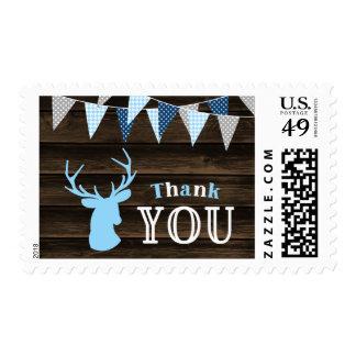 Rustic Wood Blue Buck Deer Bunting Thank You Postage