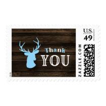 Rustic Wood Blue Buck Deer Thank You Postage