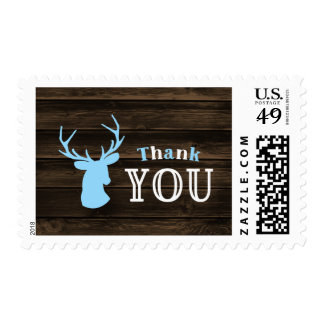 Rustic Wood Blue Buck Deer Thank You Postage