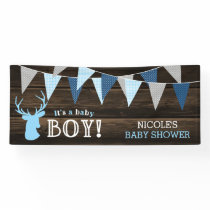 Rustic Wood Blue Deer Boy Baby Shower Banner
