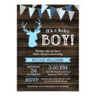 Rustic Wood Blue Deer Boy Baby Shower Invitations