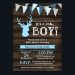 "Rustic Wood Blue Deer Boy Baby Shower Invitations<br><div class=""desc"">A stylish deer themed boy baby shower invite. Perfect for a rustic baby shower theme. Design features a dark barn wood background,  deer with antlers and bunting banner in blue,  navy and gray.</div>"