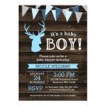 Rustic Wood Blue Deer Boy Baby Shower Invitations