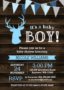 Baby boy shower invitations zazzle rustic wood blue deer boy baby shower invitations filmwisefo