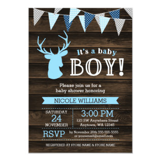 Rustic Wood Blue Deer Boy Baby Shower Invitations at Zazzle