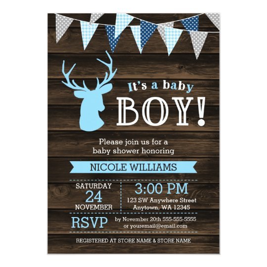 Rustic Wood Blue Deer Boy Baby Shower Invitations Zazzlecom