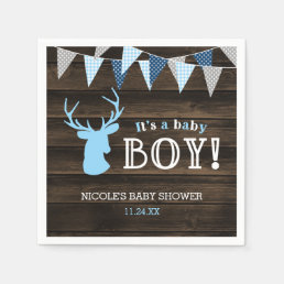 Rustic Wood Blue Deer Boy Baby Shower Paper Napkin