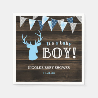 Rustic Wood Blue Deer Boy Baby Shower Paper Napkin at Zazzle