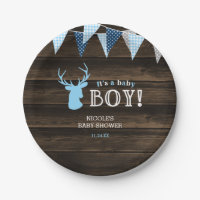 Rustic Wood Blue Deer Boy Baby Shower Paper Plate
