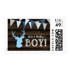 Rustic Wood Blue Deer Boy Baby Shower Postage