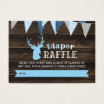 "Rustic Wood Blue Deer Boy Diaper Raffle Ticket<br><div class=""desc"">A buck deer themed baby shower diaper raffle ticket. Perfect for a woodland themed boy baby shower party.</div>"