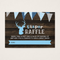 Rustic Wood Blue Deer Boy Diaper Raffle Ticket
