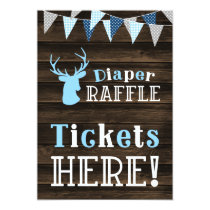 Rustic Wood Blue Deer Diaper Raffle Ticket Sign Card