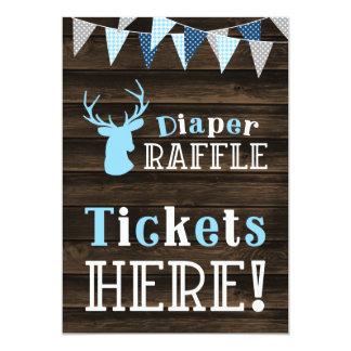 Rustic Wood Blue Deer Diaper Raffle Ticket Sign Card
