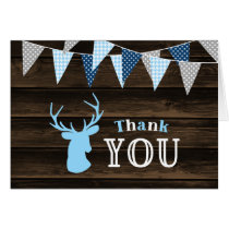 Rustic Wood Blue Deer Thank You Card