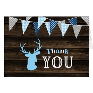 Rustic Wood Blue Deer Thank You Card