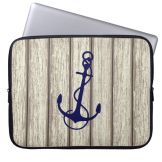 Rustic Wood & Blue Nautical Boat Anchor Computer Sleeve