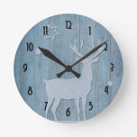 Rustic Wood Blue Reindeer Country Christmas Round Clock