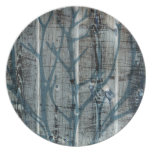 Rustic Wood Blue Tree Party Plate