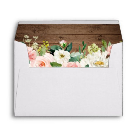 Rustic Wood Blush Floral with Return Address 5x7 Envelope