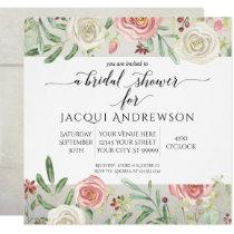 Rustic Wood Blush Ivory Rose Floral Bridal Shower Invitation