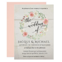 Rustic Wood Blush Ivory Roses Leaf Wreath Wedding Invitation