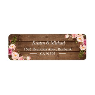 Rustic Wood Blush Pink Romantic Floral Label