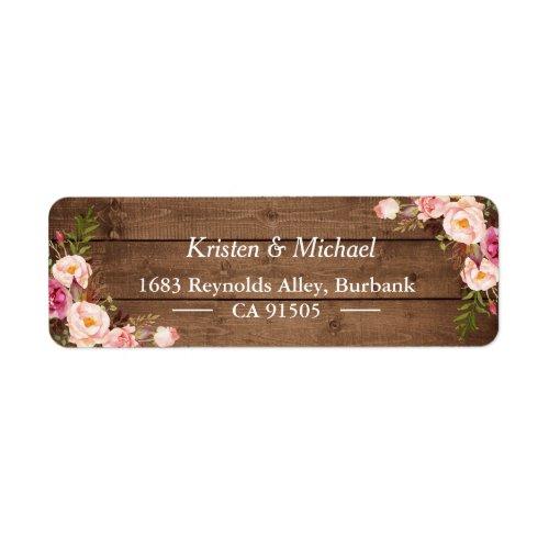 Rustic Wood Blush Pink Romantic Floral Label
