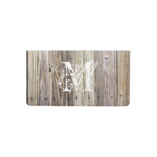 Rustic Wood Boards with Monogram Checkbook Cover