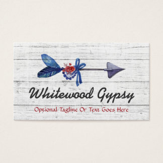 Rustic Wood Bohemian Gypsy Arrow Feather & Beads Business Card