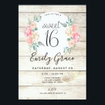 "Rustic Wood Boho Floral Sweet 16 Birthday Invite<br><div class=""desc"">This pretty light rustic wood featuring watercolor flowers is perfect for a boho or rustic wood themed Sweet 16 birthday party.</div>"