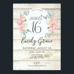 """Rustic Wood Boho Floral Sweet 16 Birthday Invite<br><div class=""""desc"""">This pretty light rustic wood featuring watercolor flowers is perfect for a boho or rustic wood themed Sweet 16 birthday party.</div>"""