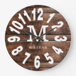 Rustic Wood Bold Numbers Family Name Monogram  Large Clock