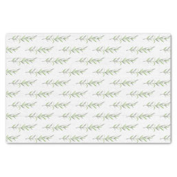 Rustic Wood & Botanical Green Leaves Wedding Tissue Paper
