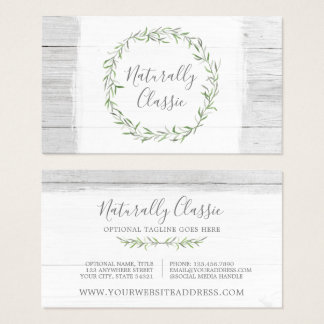 Rustic Wood & Botanical Leaf Branches Green Wreath Business Card