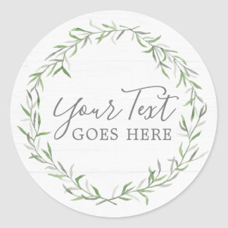 Rustic Wood & Botanical Leaf Branches Green Wreath Classic Round Sticker